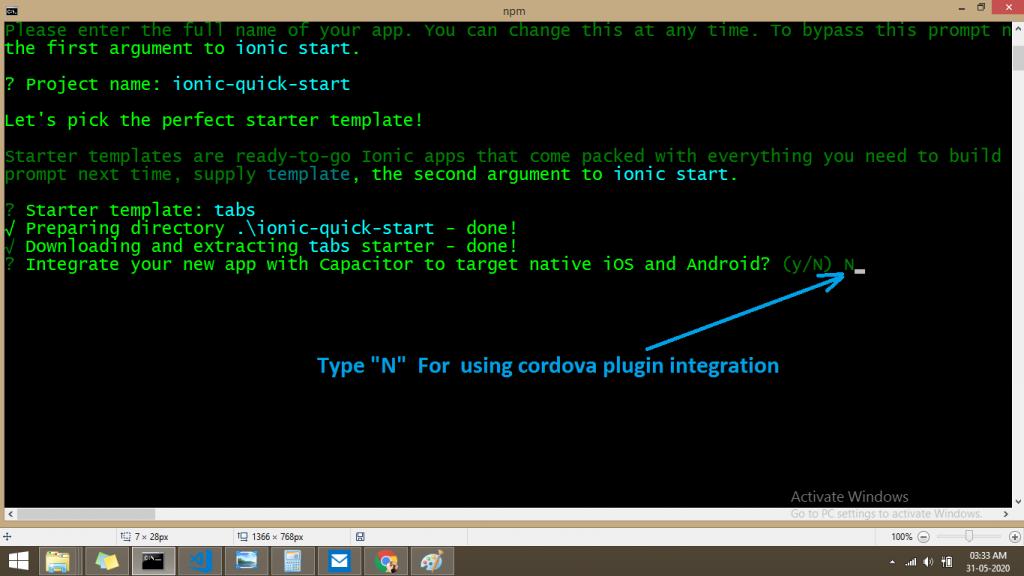 choose cordova plugin on setup ionic project