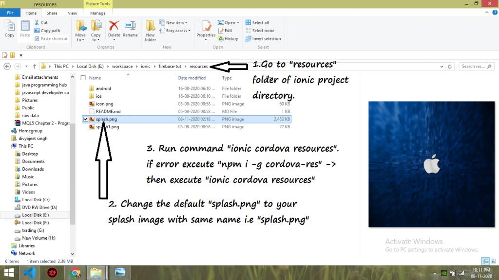 change default splash screen in ionic  framework